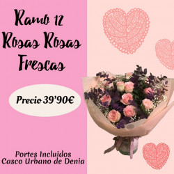 Ramo de 12 Rosas Rosas Frescas