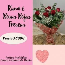 Ramo de 6 Rosas Rojas Frescas