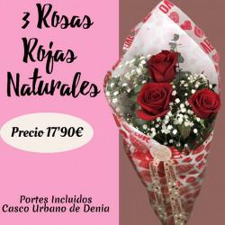 Arreglo de 3  Rosas Rojas...