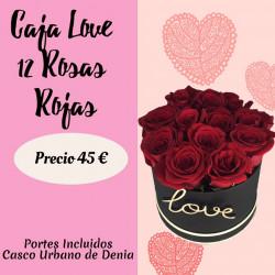 LOVE CAJA DE 12 ROSAS ROJAS