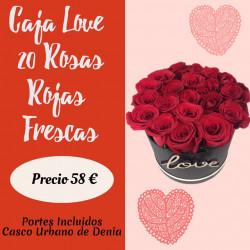 LOVE CAJA DE 20 ROSAS ROJAS