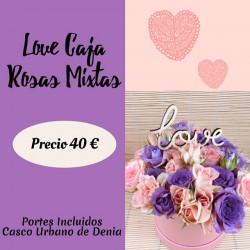 LOVE CAJA ROSAS MIXTAS