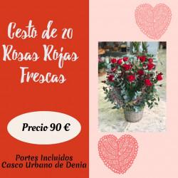 Cesto de 20 Rosas Rojas...