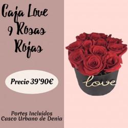 LOVE CAJA DE 9 ROSAS ROJAS